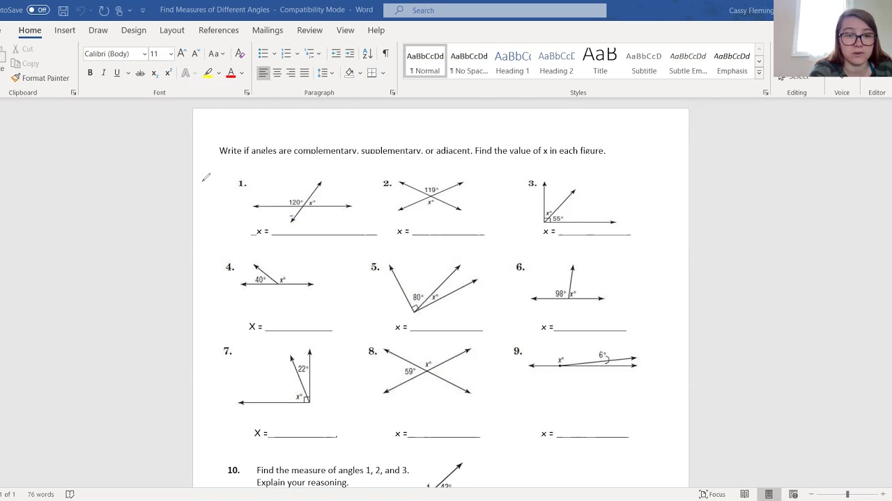 8th Grade Math Measures of Angles Worksheet (5/6/20) - YouTube [ 720 x 1280 Pixel ]