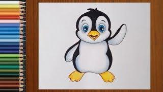 drawing penguin cartoon pencil drawings easy draw tutorial pen paintingvalley