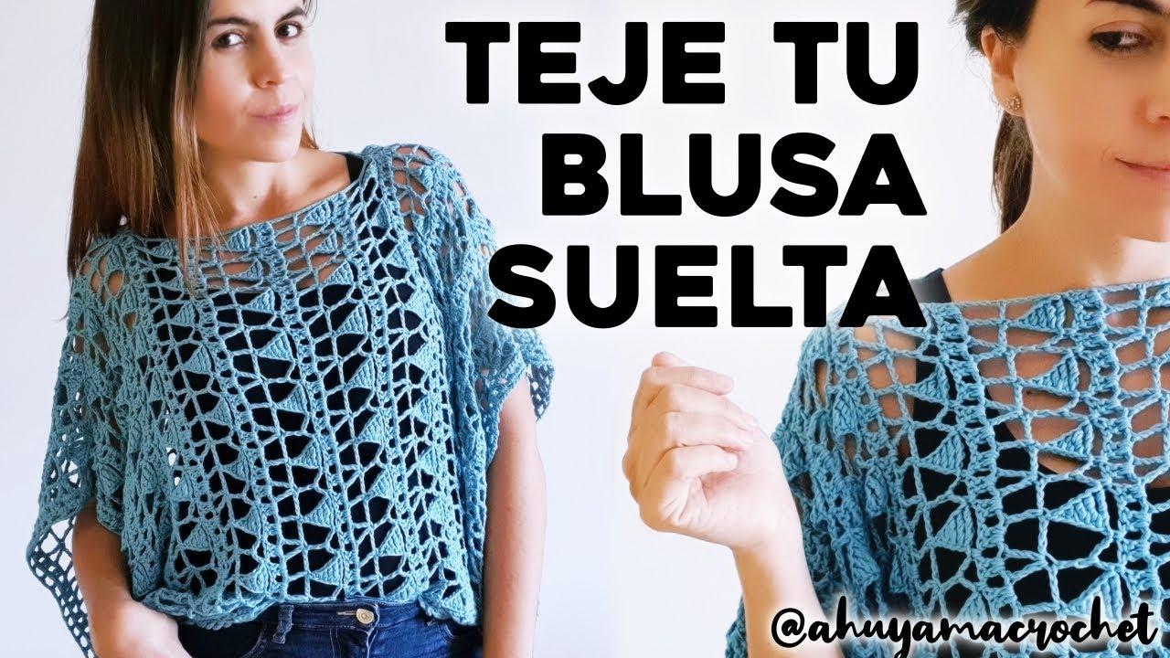 Cómo Tejer Blusa A Crochet Teje Una Blusa Suelta A Crochet En Punto Calado Tutorial Paso A Paso Youtube