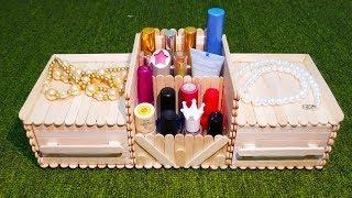 DIY, Makeup and Jewelry Box , makeup organizer diy, jewelry box, popsicle stick crafts
