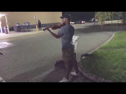 Man Playing Violin In Walmart Parking   John Legend All Of Me