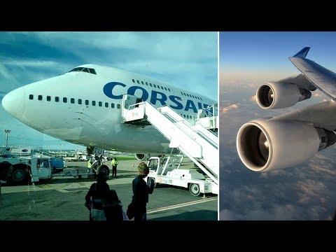 Corsair International BOEING 747-400   Paris Orly to Guadeloupe Island *FULL FLIGHT*