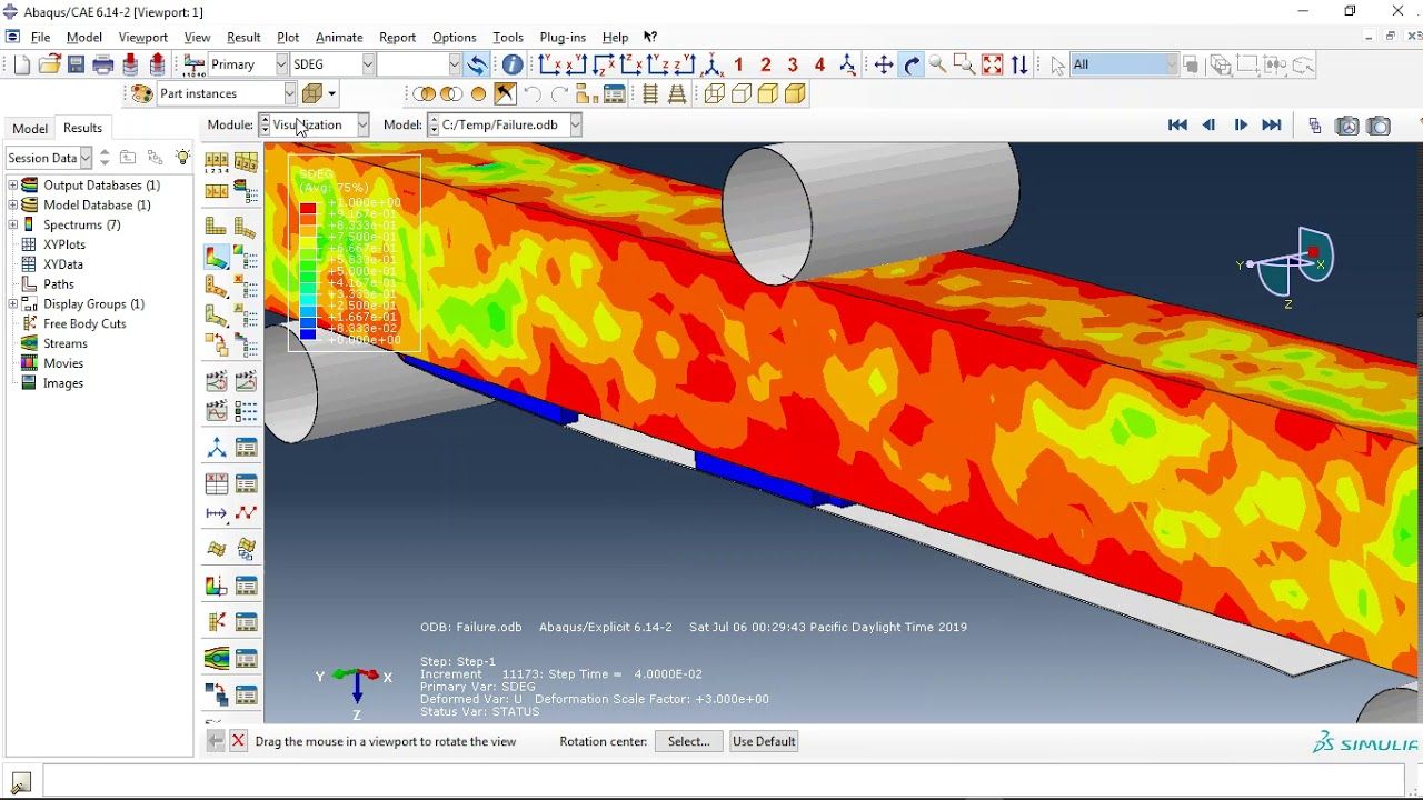 Simulation of concrete FRP cover separation failure in the RC beam in Abaqus