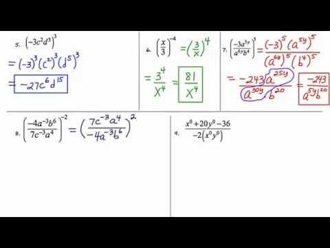 MathCamp321: Algebra 2 - Monomials/Rules Of Exponents (part 2)