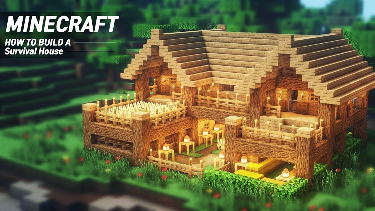 Easy Minecraft Starter House Tutorial How To Build In Minecraft 62 Youtube