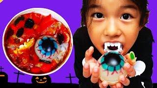 グロ旨おやつ!実験スライムゼリーに食紅&充血目玉グミを入れて...!?himawari-CH thumbnail