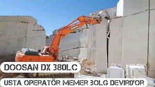 Doosan dx 380lc Ekskavatör İle Mermer Bloğu Devirme