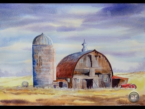 Painting a landscape with barn in watercolor
