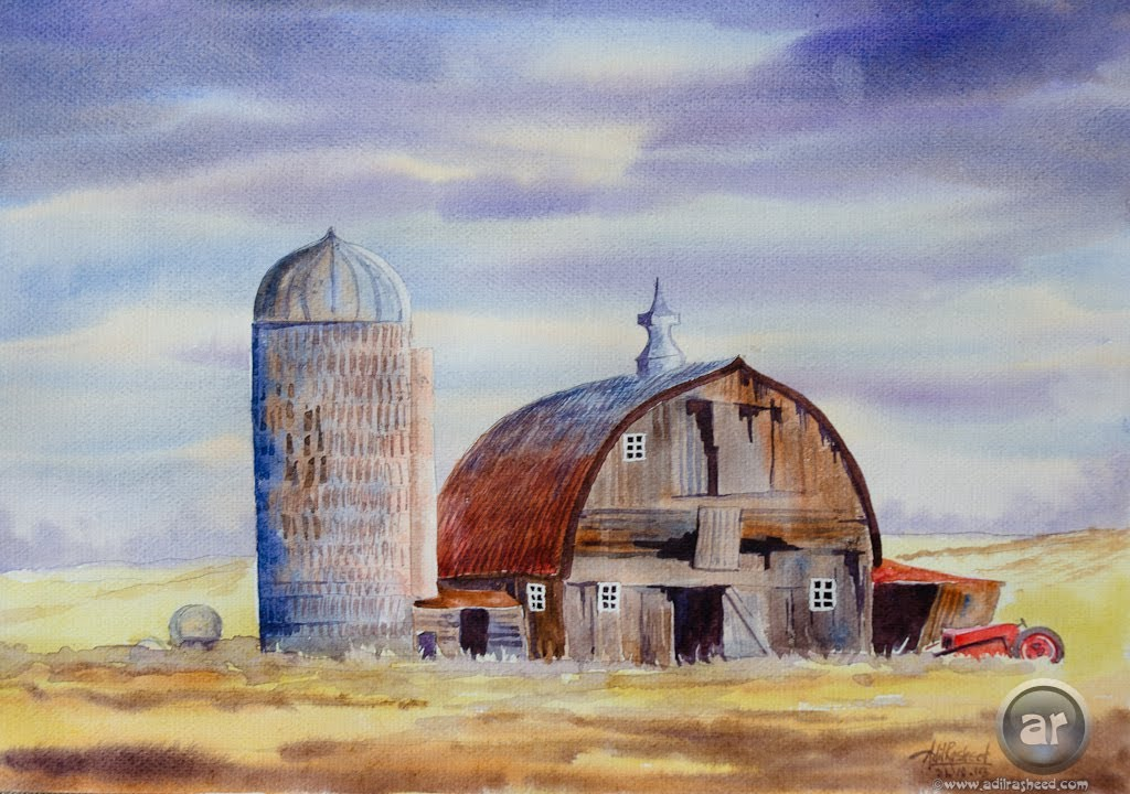 Painting a landscape with barn in watercolor - YouTube