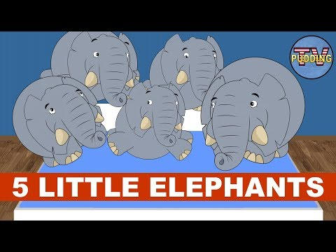 Five Little Elephants Jumping On The Bed - Children's Songs