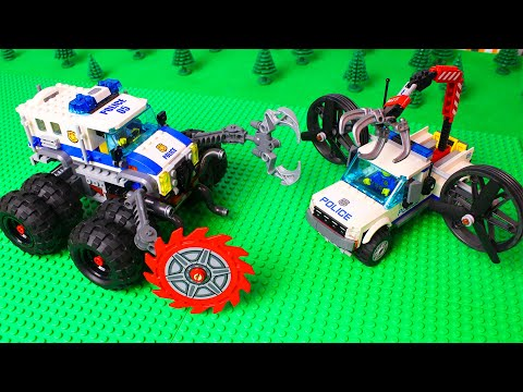 LEGO experimental police trucks, Bulldozer and pickup for kids