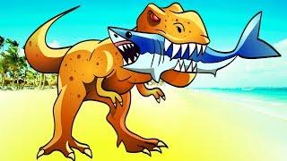 Страшный ДИНОЗАВР РЕКС съедает АКУЛУ и ЛЮДЕЙ на пляже Мультик ИГРА для детей Miami Rex