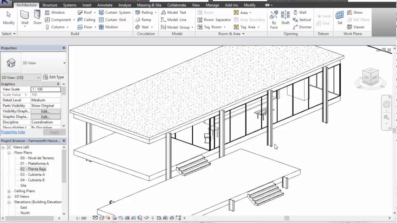 04 casa farnsworth muro cortina plafones y vistas - Como hacer plano de casa ...