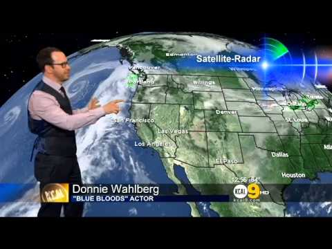 Donnie Wahlberg does the KCAL9 weather forecast