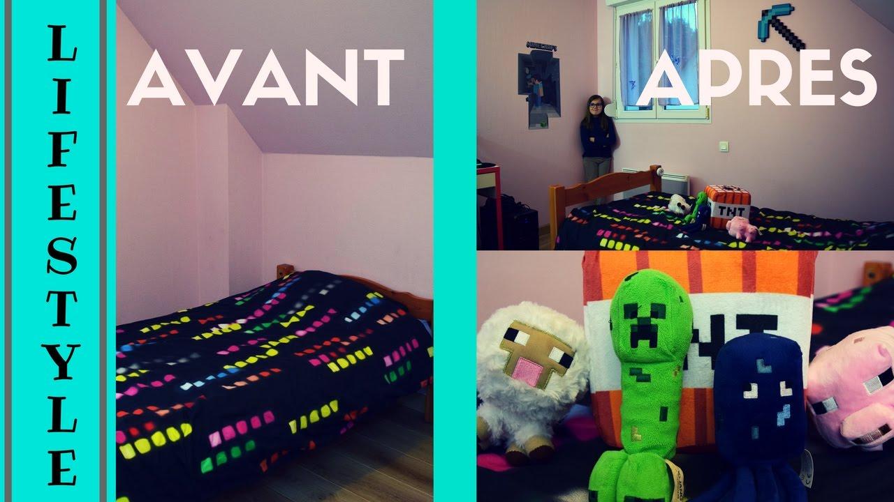 D corer sa chambre avec l 39 univers minecraft youtube for Decorer sa chambre ado