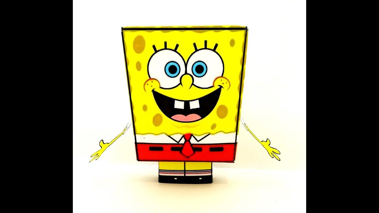 Губка Боб из бумаги. Spanch Bob of paper