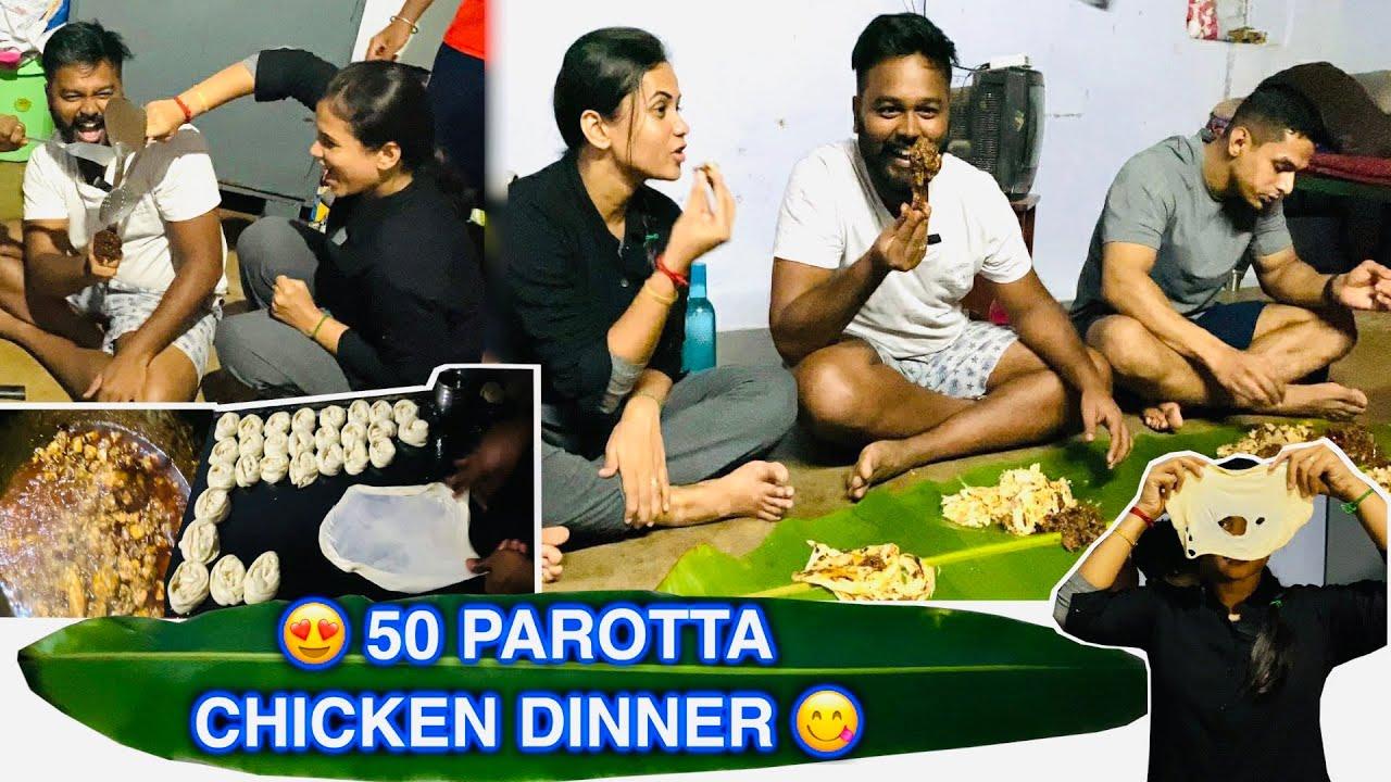 Village parotta Fun cooking 🤤 Chicken Dinner treat 🥘 Hussain Manimegalai