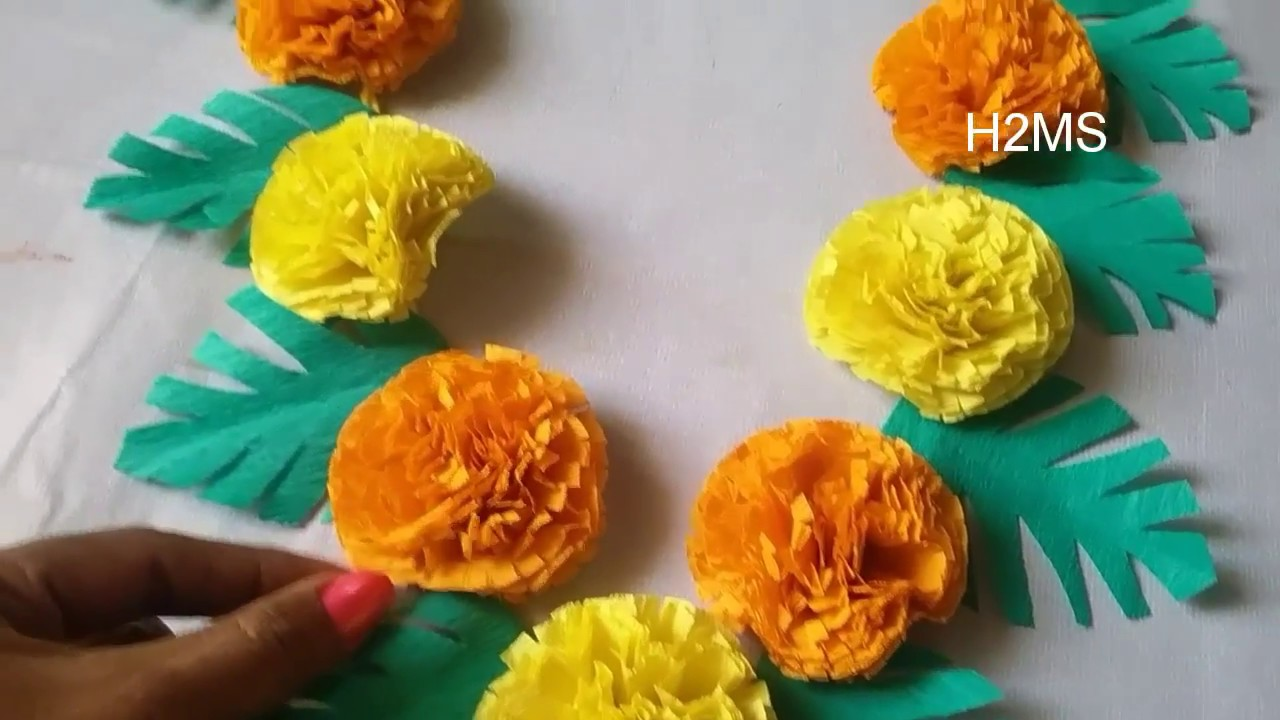 Diy Crape Paper Garland Making How To Make Simple Garland Using Crepe Paper Diy Marigold Toran