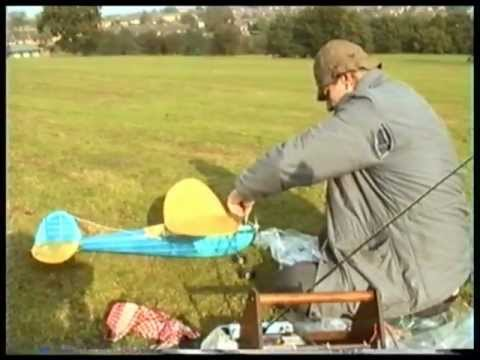 Old timer model aircraft flying - The Answer vintage model aircraft filmed in 1997