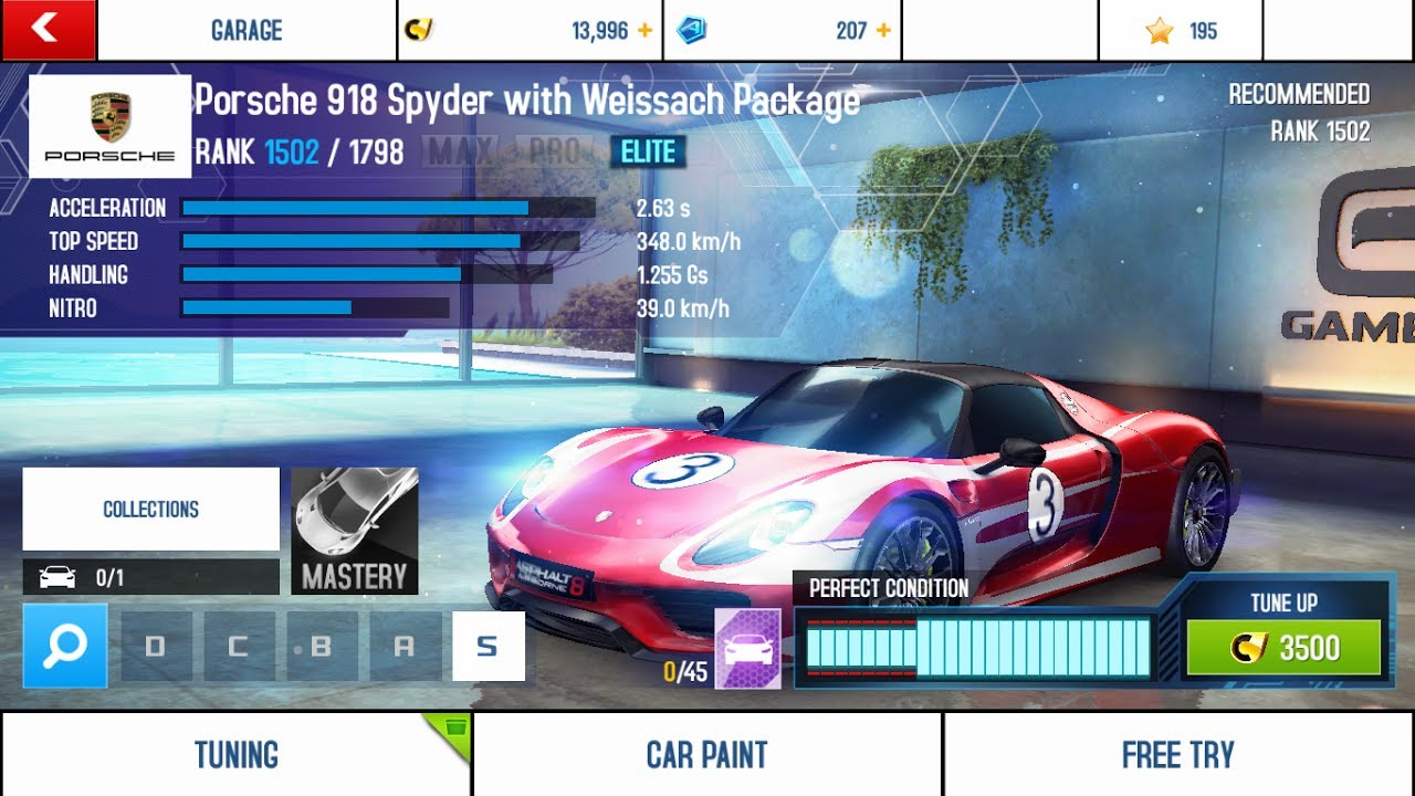 asphalt 8 airborne porsche 918 spyder with weissach. Black Bedroom Furniture Sets. Home Design Ideas