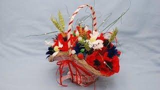 """Букет из конфет """"Летняя корзинка"""". Подарок своими руками.  DIY summer bouquet"""
