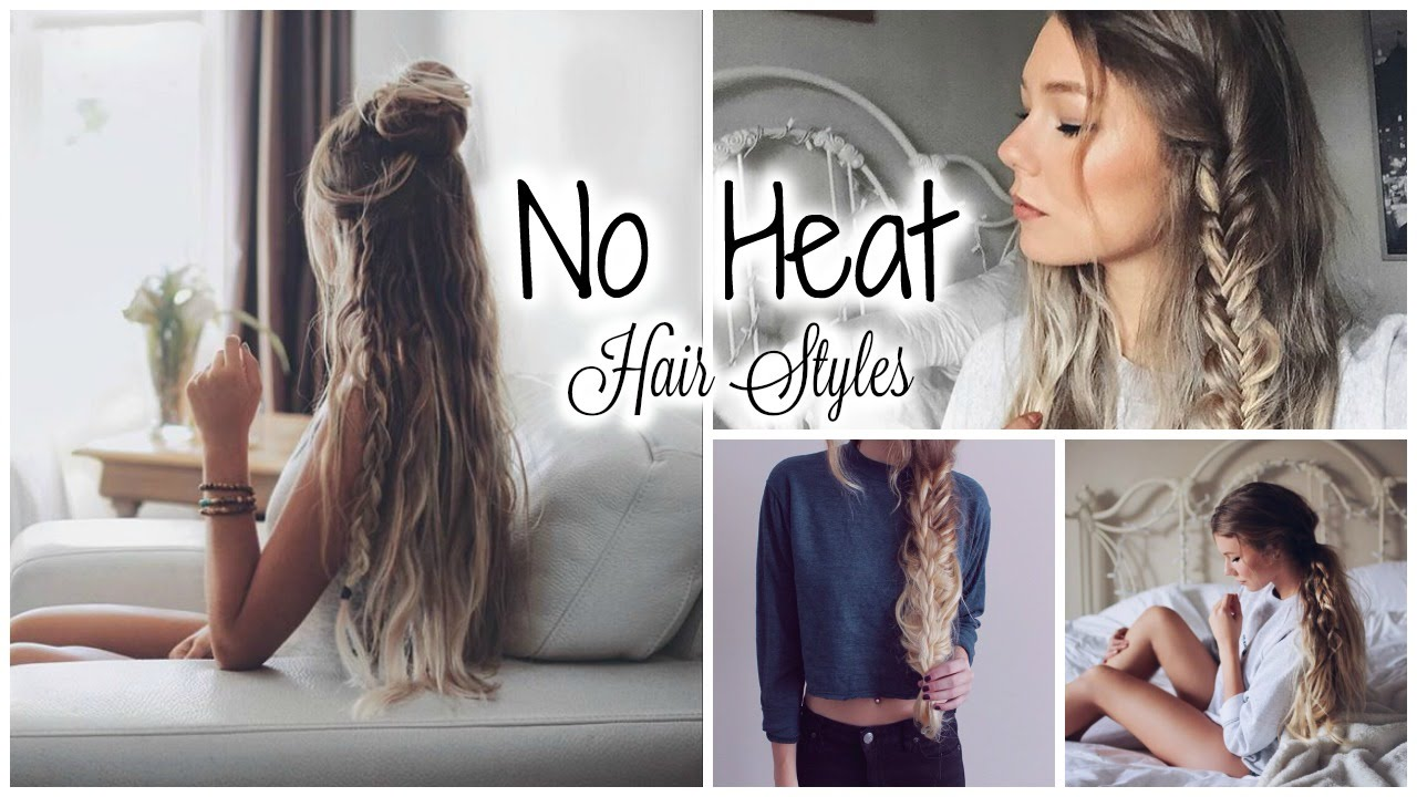 5 minute no heat hairstyles // quick & easy - youtube