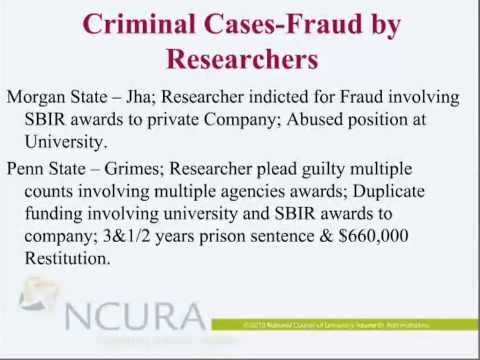 NSF webinar (recorded): Embezzlement, False Claims, Theft and Bribery, Oh No!