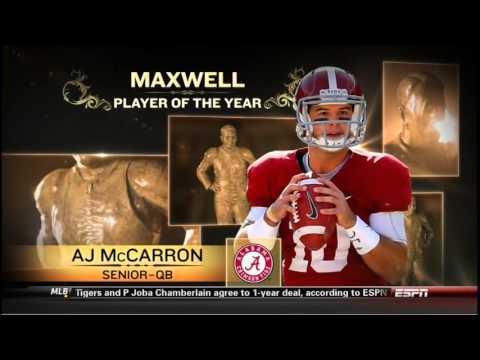 AJ  McCarron Wins 2013 Maxwell Award