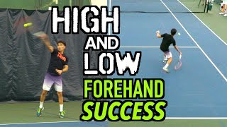 Forehand Tennis Lesson - How to hit HIGH and LOW balls easily