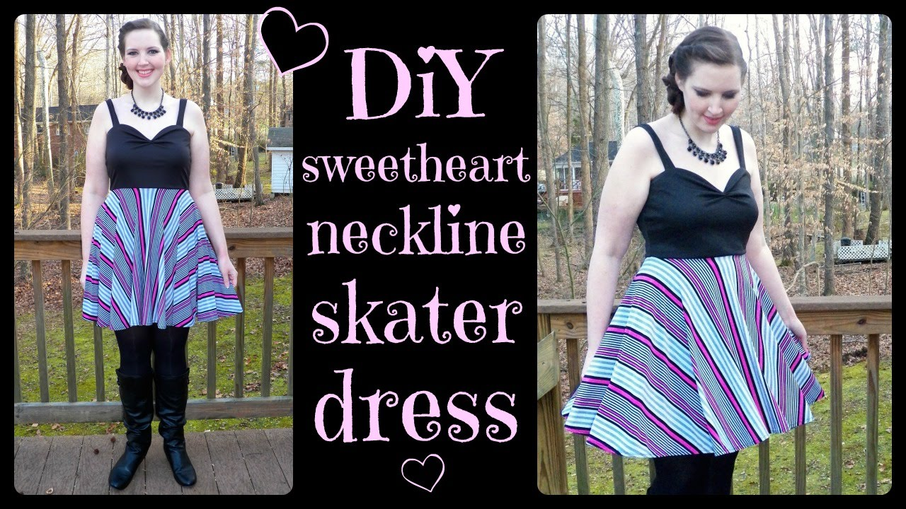 DIY Sweetheart Neckline Skater Dress w  Circle Skirt - How to Sew Tutorial  - YouTube 31da169de