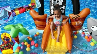 Inflatable Water Slide Pirate Ship Pool & Fun Kids Obstacle Course!