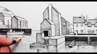 How to Draw Buildings in 1-Point Perspective: Harbour Scene