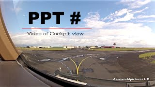 Take-off at PAPEETE Faa'a Int'l airport (PPT/NTAA) French Polynesian - Cockpit view