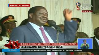 Raila Odinga's speech during Madaraka Day celebrations at Kinoru Stadium