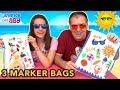 3 MARKER CHALLENGE.  Coloreando bolsas de playa