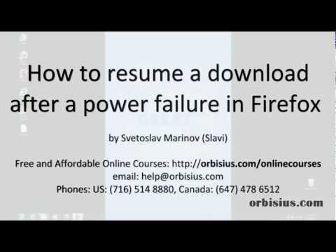 How to resume a Firefox download after a power failure/outage