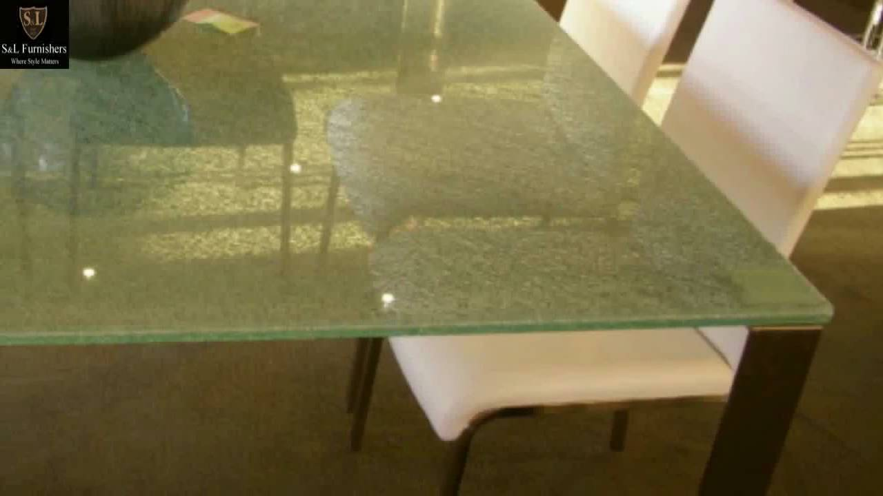 Modern Cracked Glass Table With Stainless Steel