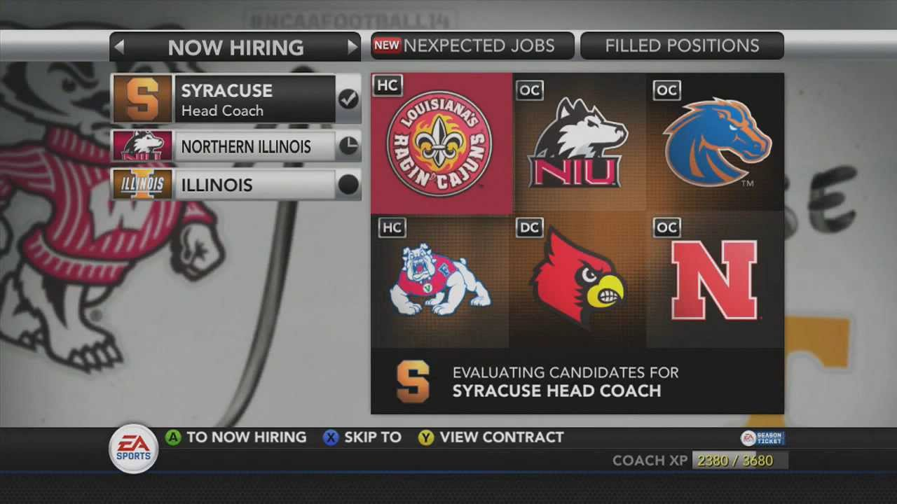 ncaa football 14 dynasty i accepted the head coaching position at