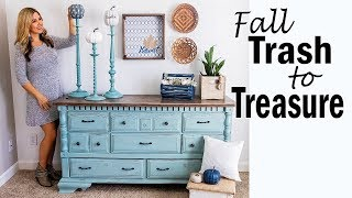 Fall Trash to Treasure Project 🔵Thrift Store Makeover 🔵 Farmhouse Decor Upcycle Makeover v3