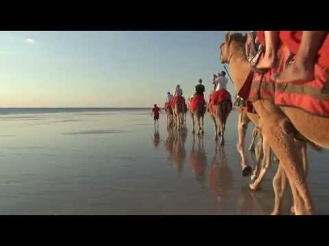 Broome, Australia -  Riding Camels at Cable Beach Sunset