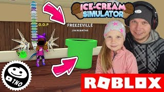 SECRET TUNNEL to the NEW WORLD + WINGS [❄️ Winter!] ICE CREAM SIMULATOR 🍦 Roblox | Daddy and Barunka