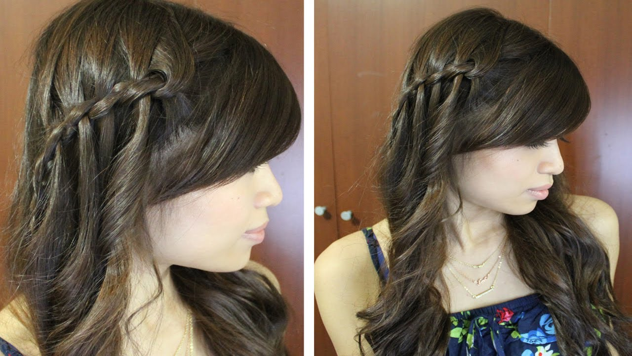 Boho waterfall twist hairstyle for medium long hair tutorial youtube baditri Choice Image