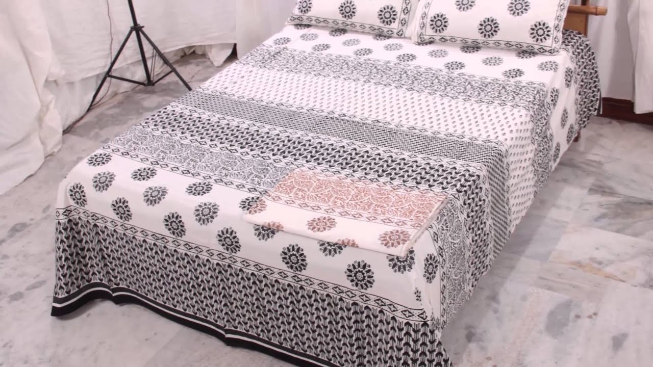 Bed sheet design patchwork - Hand Block Print Bedsheet Designs Available In Various Colours And Designs Youtube