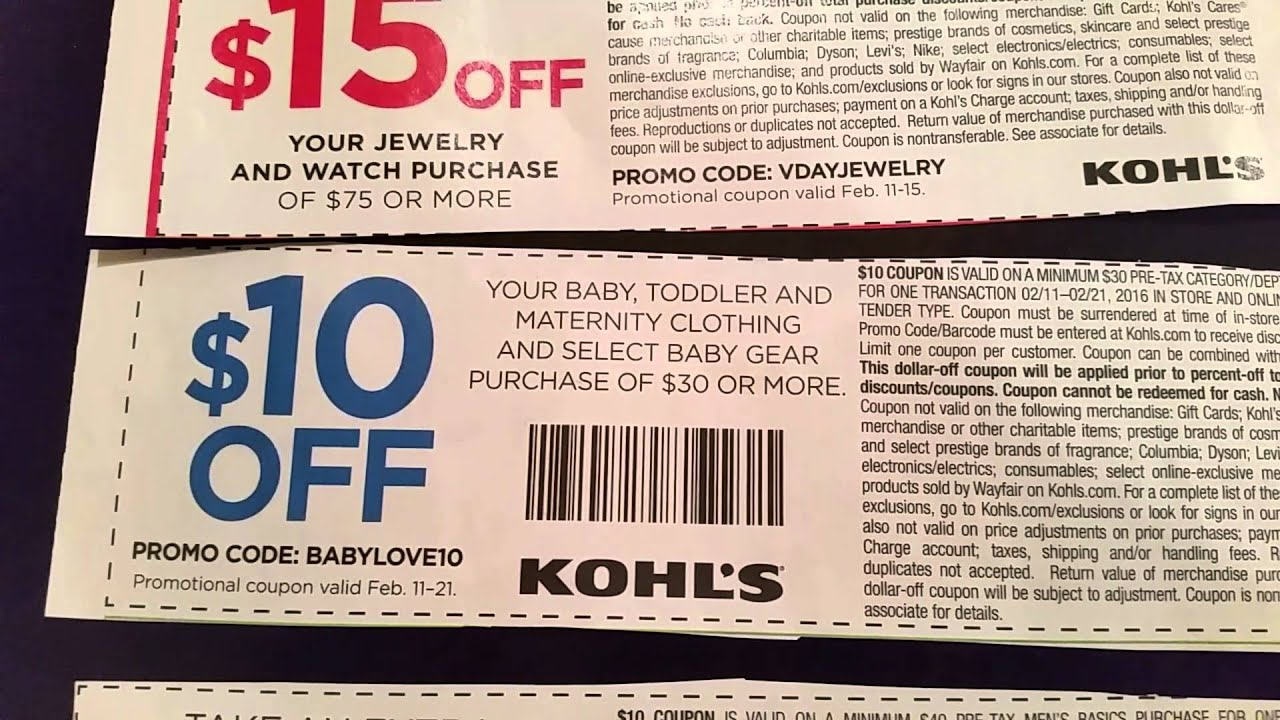 Kohls coupon codes 30
