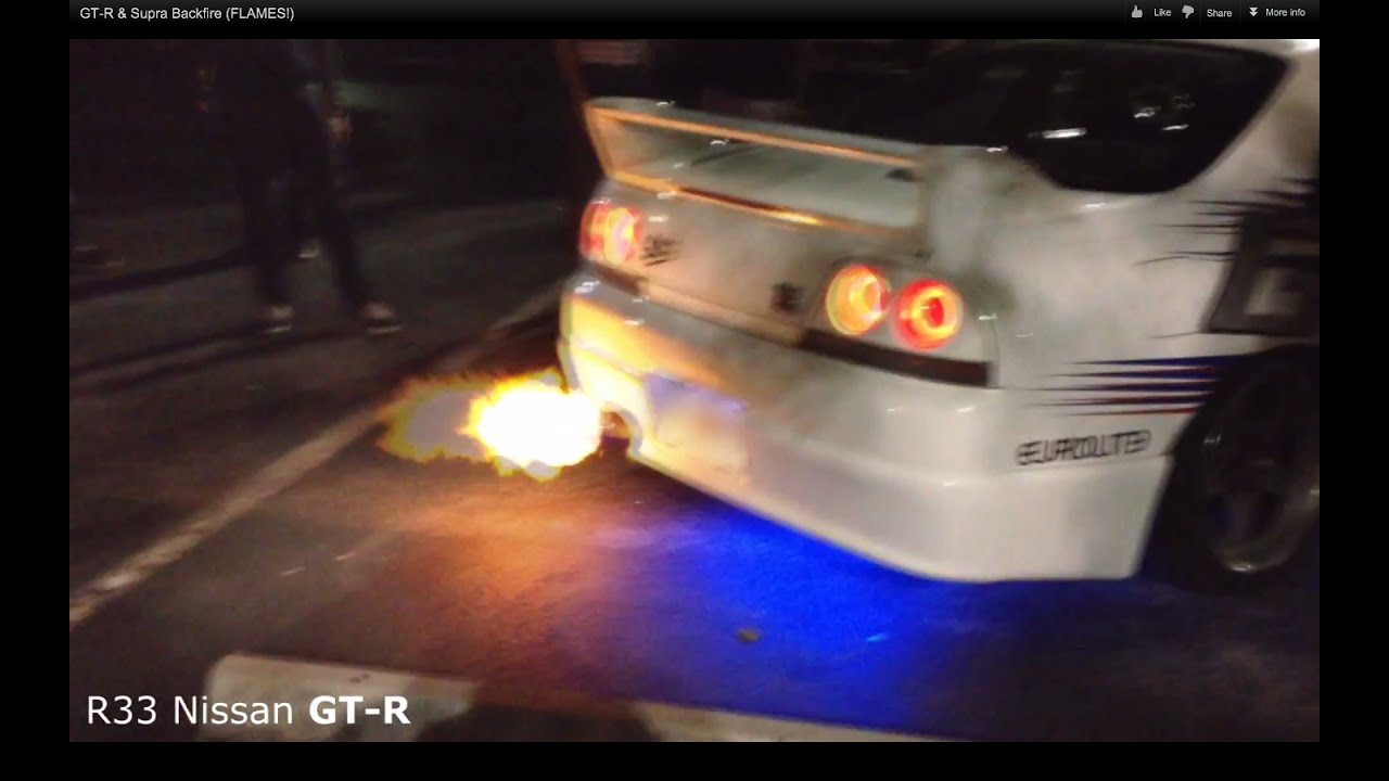 GT R U0026 Supra Backfire (FLAMES!)   YouTube