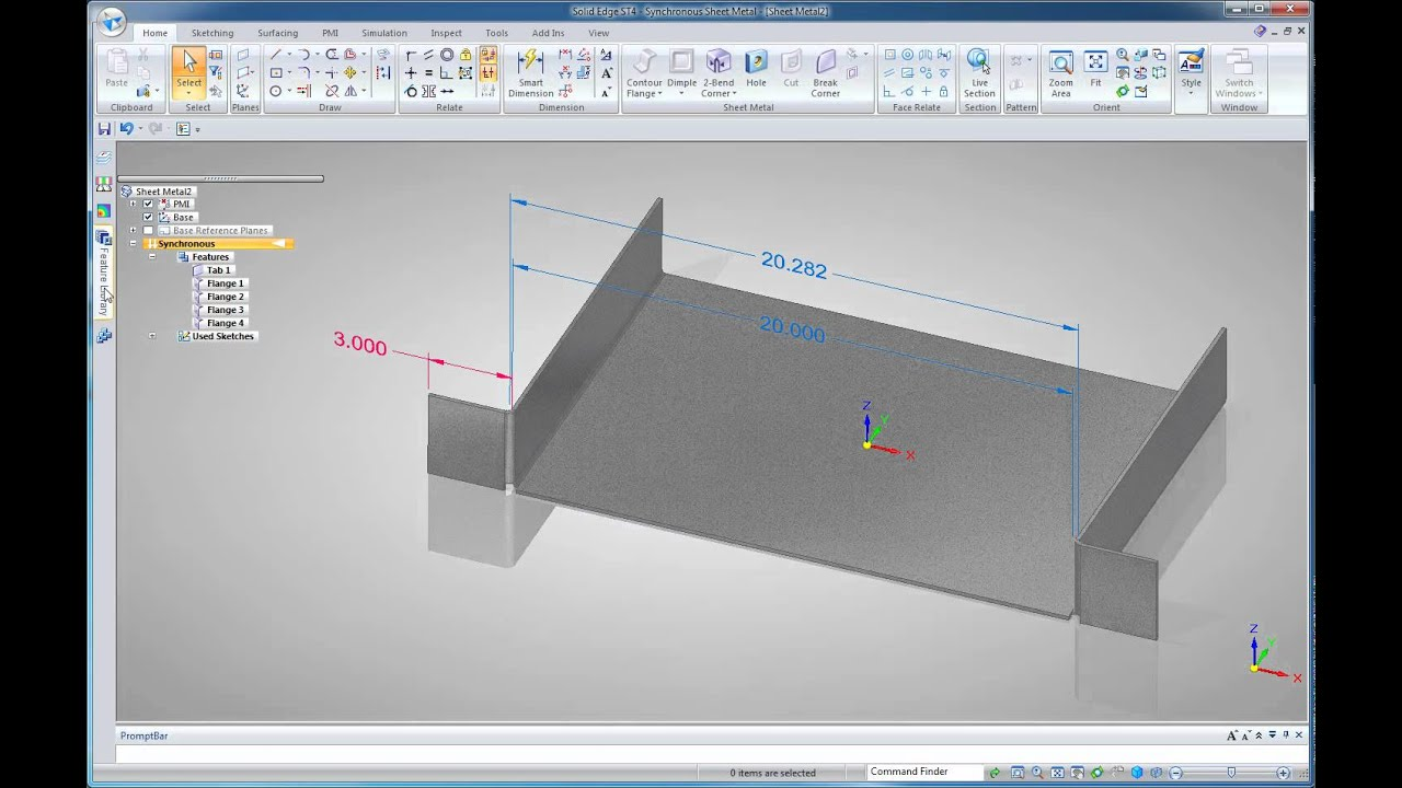 Solid Edge St4 Sheet Metal Design Part 1 Youtube