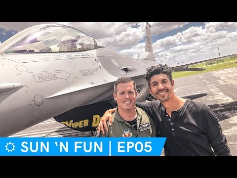 F16 pilot interview, inside airshow control tower - Sun N Fun 2018 Day 2