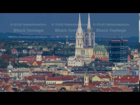 Zagreb capitol of Croatia cathedral and modern skyscraper with a old city panorama timelapse