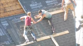Roofers Without Safety Harnesses