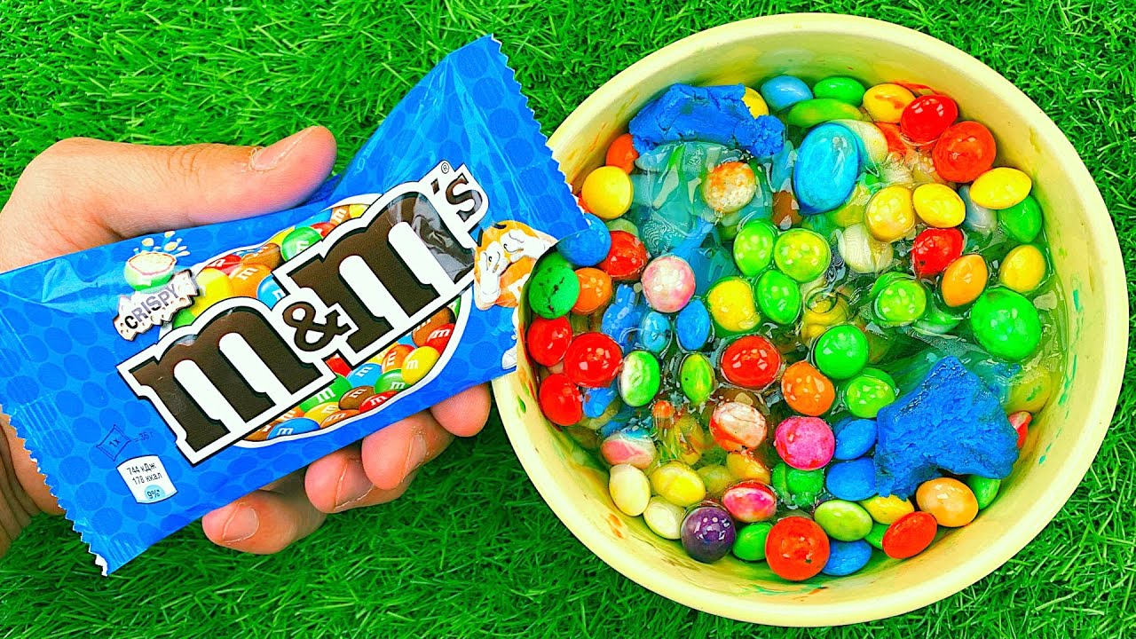 Satisfying Video l M&M Candy Mixing with Rainbow Glitter Playdoh Balls & Glossy Slime Cutting ASMR